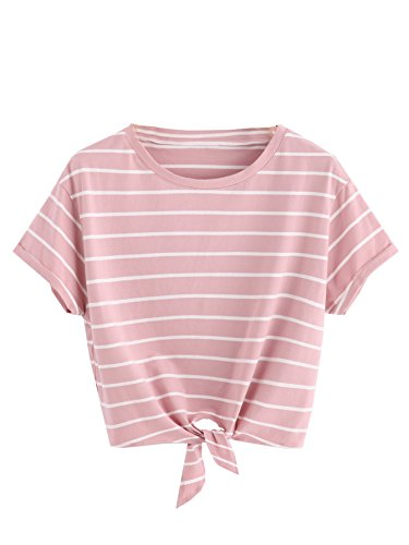 (ROMWE Women's Knot Front Long Sleeve Striped Crop Top Tee T-shirt, Pink & White, Large / US 8-10)