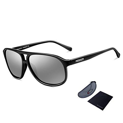 HODGSON Aviator Stil polarisierte Sonnenbrille, 100% Schutz vor UV-Silber