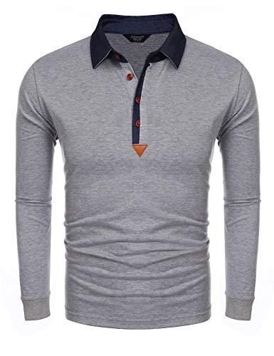 Denim Long Sleeve Polo Shirt - COOFANDY Men's Long Sleeves Polo Shirt Slim Fit Casual Denim Collar Cotton Classic T Shirts