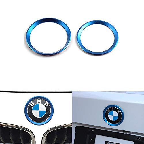 DEMILLO Car Front Rear Logo Decoration Cover Ring Trim Hood Emblem Ring for 2013-2019 BMW 3 Series 320Li 328Li 316/BMW 4 Series M3 M4 (blue)