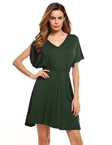 Zeagoo Women's Summer Swing Dress Cold Shoulder Tunic Dresses,Army Green,M