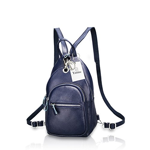 Ladies Bag Backpack Leather Blue Anti Shoulder Rucksack Royal Purse Theft Yoome Stria Women Litchi Crossbody 7ffHY