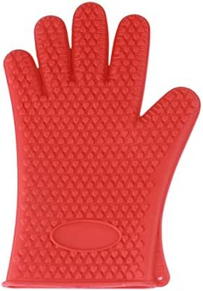 LQZ(TM) Microwave Oven Gloves Silicone Heat Resistant Gloves for Grilling, BBQs, Baking, Smoke Ovens,Unique Maple Leaf Design in Finest Orange Silicone. Extra Long to Cover Wrists (Red)