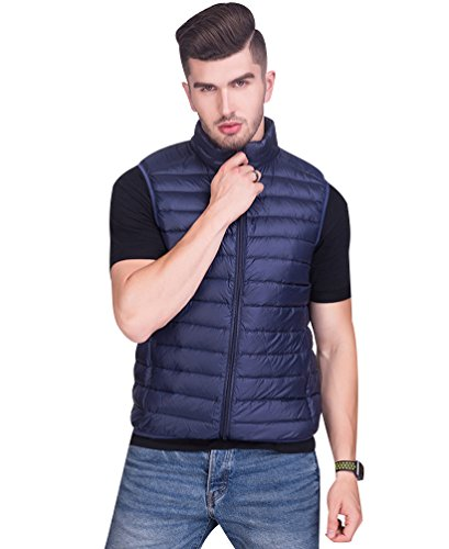 Gilet Puffer ISSHE Vest Winter Gilet Gilets Sleeveless Puffa Bodywarmers Jacket Filled Warmest Padded Down Bodywarmer Gilet Packable Quilted Mens Zipper Down Jackets Pockets Down Lightweight Navy qxwrfPqI