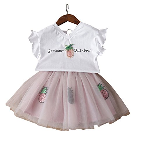 [FANCYKIDS Girls Toddler Top Shirt Pineapple Fruit Party Dance Tutu Skirt Outfit (6 Years Old,] (White Party Outfit Ideas)