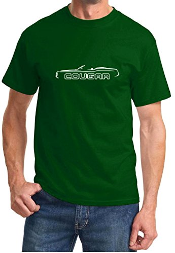 1971 Mercury Cougar Convertible (1971 1972 1973 Mercury Cougar Convertible Classic Outline Design Tshirt 3XL forest green)