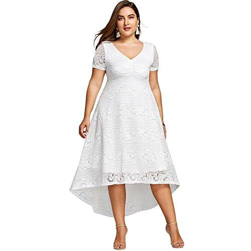 YTJH Vestidos Largos Mujeres Cuello en V Vestido de Fiesta Verano Manga Corta Elegante Dress de Encaje Fiesta Mujer Falda de Partido Sundress Casual Irregular Tallas Grandes, XL-5XL