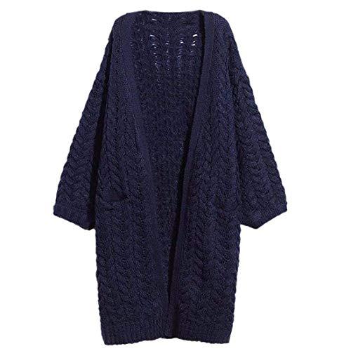 Maglioni Maglia A Manica Outwear Giacca Modern Lunghi Monocromo Blau Casual Abbigliamento Anteriori Lunga Autunno Confortevole Moda Donna Tasche Stile 6O6qwRr