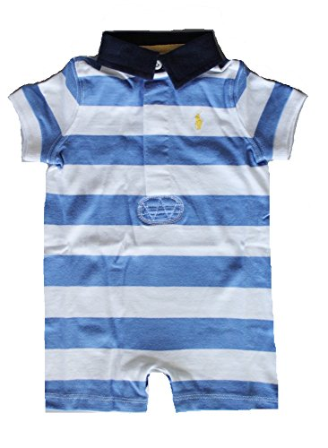 Ralph Lauren Baby Boys Striped Cotton Jersey Shortall (18 Months, Regal Blue/White)