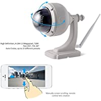 LESHP Surveillance Camera Wireless Wifi 720P Durable IP Camera Home Video Monitor Waterproof Camera Night Vision P2P Plug and Play Outdoor Dome PTZ Security with Pan Tilt IR Cut Camera