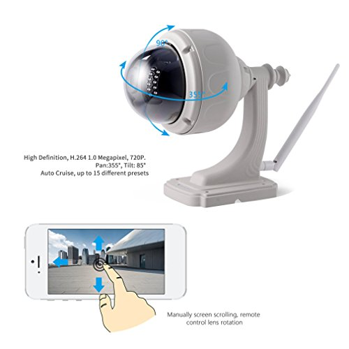 LESHP Surveillance Camera Wireless Wifi 720P Durable IP Camera Home Video Monitor Waterproof Camera Night Vision P2P Plug and Play Outdoor Dome PTZ Security with Pan Tilt IR Cut Camera by LESHP