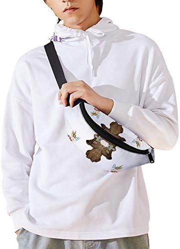秋の花鹿プリントホワイト ウエストバッグ ショルダーバッグチェストバッグ ヒップバッグ 多機能 防水 軽量 スポーツアウトドアクロスボディバッグユニセックスピクニック小旅行