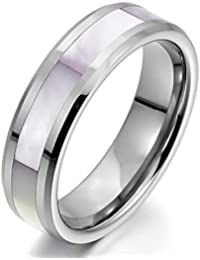 Men,Women's Tungsten Mother of Pearl Abalone Shell Ring Band Silver Tone