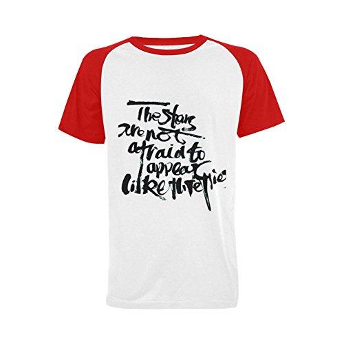 Maoav Men's Tech T-Shirts Raglan Short-Sleeve (S, white red)