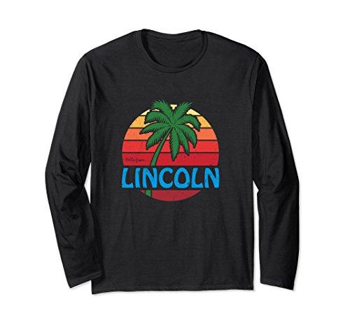 Unisex Hello From Lincoln Nebraska Palm Beach Long Sleeve T-Shirt 2XL - Beach Lincoln