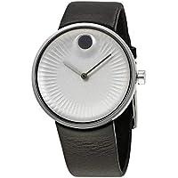 Movado Edge Silver Dial Leather Strap Men's Watch 3680001