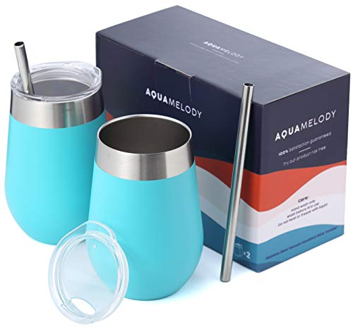 Aqua Gift - Aqua Melody Double Insulated Stainless Steel Wine Glass | 12oz Wine Tumbler | Powder Coated | Unbreakable (Includes 2 Steel Straws and 2 Lids) (Teal, 12oz)