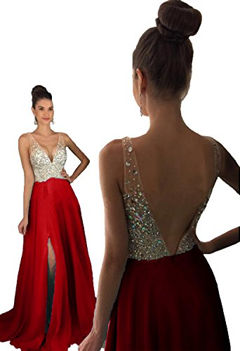 HEAR Women's V Neck Long Prom Dresses Backless Party Evening Dress Hear051 Red 4
