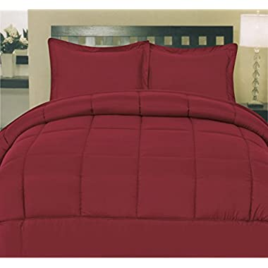 Sweet Home Collection White Goose Down Alternative Comforter, Twin, Burgundy