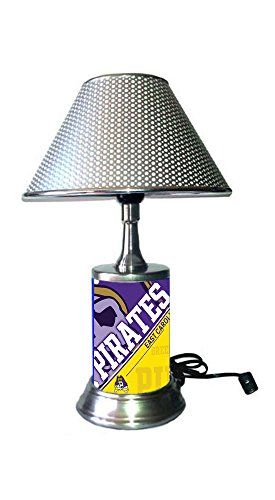 East Carolina Pirates Lamp - JS Table Lamp with Chrome Colored Shade, East Carolina Pirates Plate Rolled in on The lamp Base