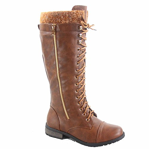 Forever Link Mango-91 Womens Fashion Round Toe Low Heel Mid Calf Knit Trim Combat Boots Shoes Tan G7IRfM6hH