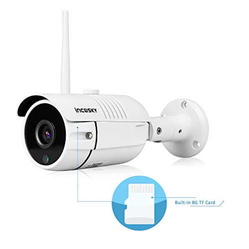 WiFi Security Camera incoSKY Wireless Security Camera IP Cam 720P Built-in 8G SD Card, IR Night Vision, Waterproof, Motion Detection Alarm for Home Surveillance System, Windows, iOS, Android (Ir Waterproof Security Camera)