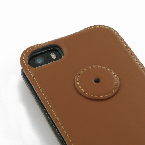 Apple iPhone 5s Ultra Thin Leather Case / Cover (Handmade Genuine Leather) - Flip Top Type (Brown) by Pdair