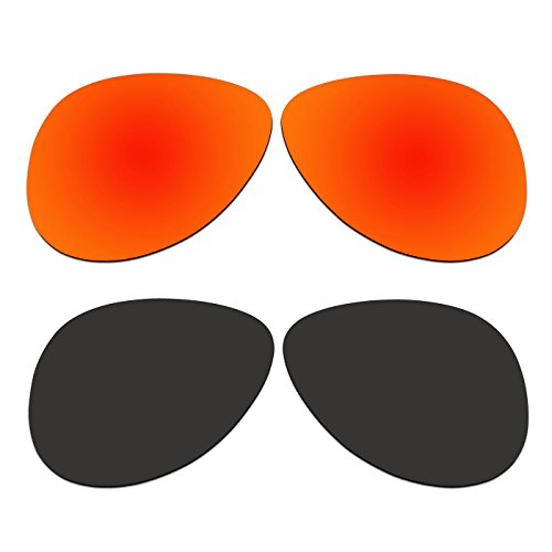 2 Pair ACOMPATIBLE Replacement Polarized Lenses for Oakley Elmont Medium 58mm Sunglasses OO4119-xx58 Pack - Oo4119