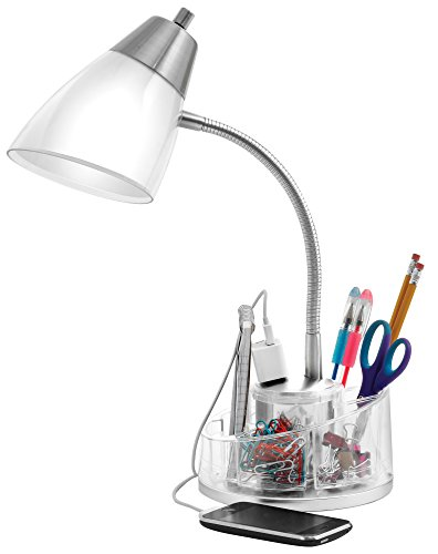 Catalina Lighting 18111-020 Shiloh 19.5'' Clear Brushed Steel Dual Shade Desk Lamp with Power Outlet, Organizer, White by Catalina Lighting (Image #1)