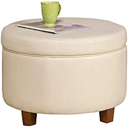 HomePop Large Leatherette Round Storage Ottoman with Removeable Lid, Ivory
