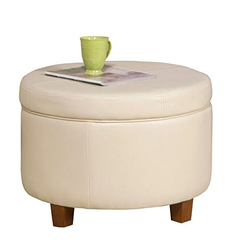 HomePop  Round Faux Leather Storage Ottoman Living Room Furniture, Ivory