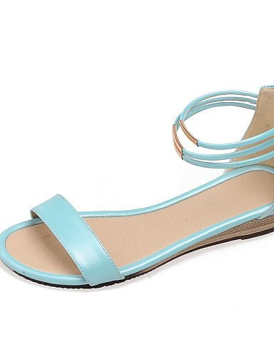 ShangYi Womens Shoes Wedge Heel Wedges / Open Toe Sandals Dress / Casual Black / Blue / White / Beige Blue