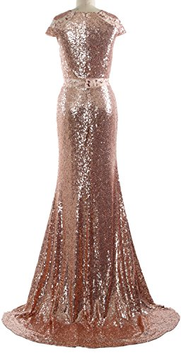 MACloth Mermaid Wedding Women Long Evening Cap Formal Sequin Gown Dress Lavendel Sleeves Z5ZWHqnr
