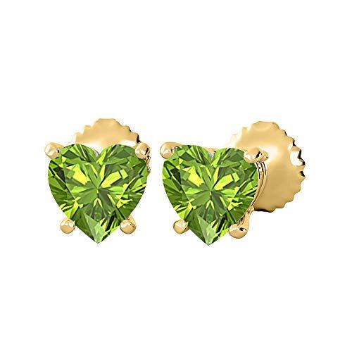 KAASHVEE JEWELS Lovely Heart Shaped Bazel (4MM) Green Peridot Solitaire Stud Earrings 14K Yellow Gold Over .925 Sterling Silver For Women's