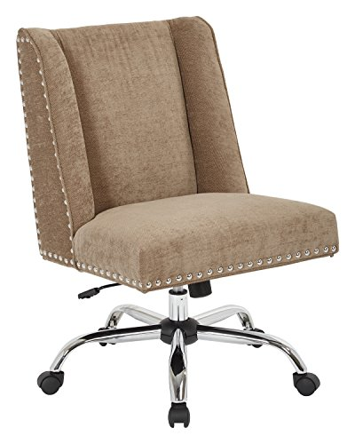 INSPIRED by Bassett Alyson Chrome Base Adjustable Managers Chair with Nailhead Accents, Earth (By Bassett Chair Inspired Accent)