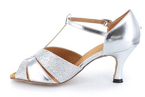 MGM Cut Sandals Leather Salsa Samba Silver Rumba Glitter Latin T Modern Tango 5cm Wedding Out Ballroom Toe Strap Shoes Dance Peep Heel 7 Party Joymod Women's YP8RqrwY