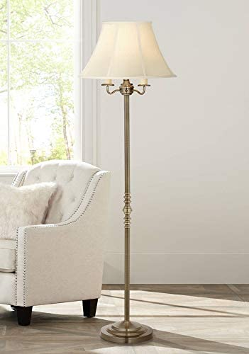 Montebello Traditional Floor Lamp Antique Brass Shabby Chic Off White Bell Shade Candelabra for Living Room Reading Bedroom Office – Regency Hill