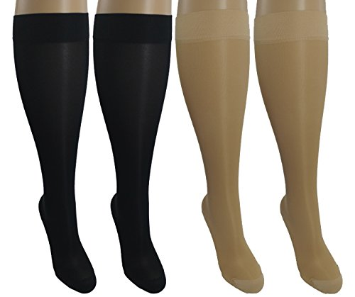 4 Pair Sheer Small/Medium Ladies Compression Socks, Moderate/Medium Graduated Compression 15-20 mmHg. Nurses, Work, Therapy, Travel & Flight Knee-High Hosiery. Colors: 2 Nude, 2 Black (4 Programmers)