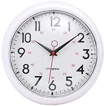 Amazon Com Kiera Grace Retro Wall Clock With Chrome Bezel