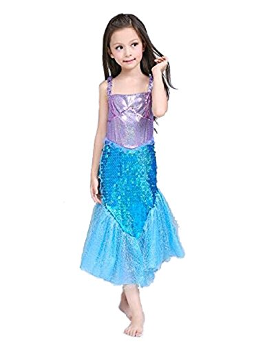 M3 Little Mermaid Costume Disney Princess Ariel Inspired Halloween Dress for Girls 4-10 (4 - 110) (Halloween Ariel)