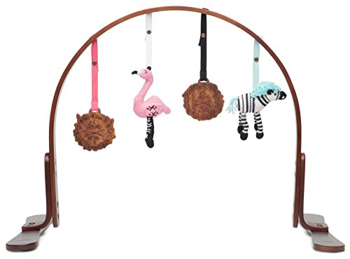 Finn Emma Play Gym, Organic Cotton and Natural Wood with Hand-Knit Rattle and Teether Stroller Toys for Baby Boy or Girl Miami Zoo – Dark