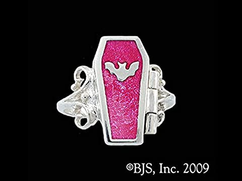 Gothic Night Bat Hidden Chamber Opening Coffin Ring with Hot Pink Enamel in Sterling Silver (Sterling Silver Coffin Ring)