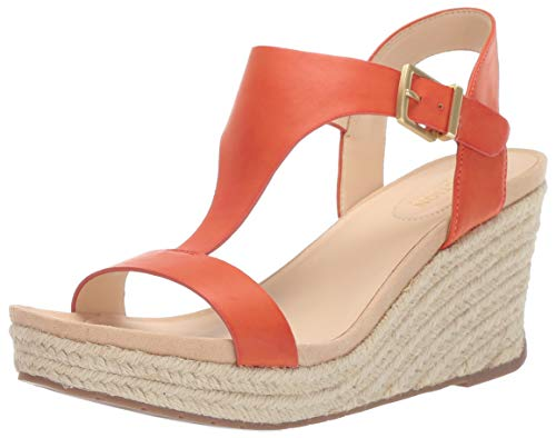 Kenneth Cole REACTION Women's Card Wedge T-Strap Espadrille Sandal, Orange, 6.5 M US