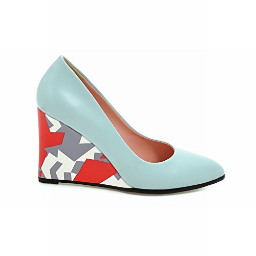 Charm Foot Womens Elegant Wedge High Heel Pump Shoes Blue GodIefWI
