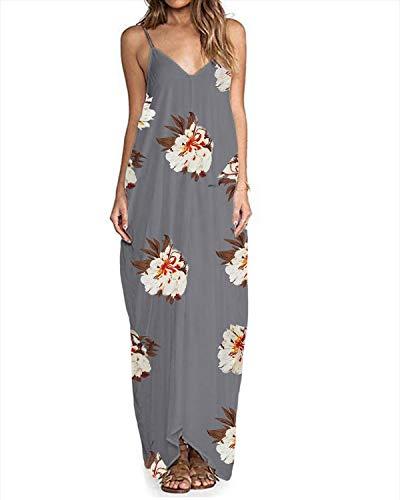 (ZANZEA Womens Floral Printed Maxi Dress Casual Summer Sundress Long Boho Beach Dress Plus Size 11 Flower US 16)