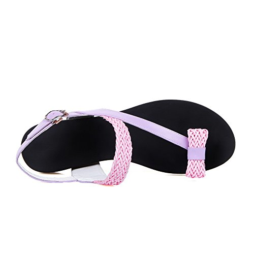 AmoonyFashion Womens Solid Cow Leather Low Heels Split Toe Buckle Sandals Pink uCW9g