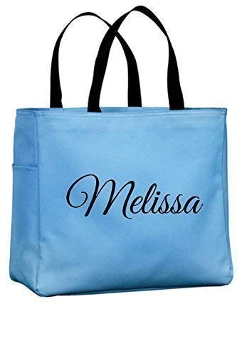 Personalized Monogrammed Open Top Tote Bag Wedding Bridesmaid Bride Teacher Office Nurse Handbag]()
