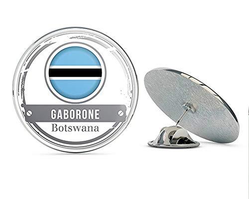 TG Graphics Gaborone Botswana Flag Stamp Art Round Metal Lapel Pins Cute Cool Hat Shirt Pin Tie Tack Pinback