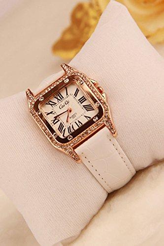 Unique Diamond Square Roman Scale Luxury Watch (White