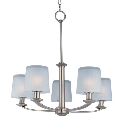 Maxim Lighting 21505FTSN Finesse 5-Light Chandelier, Satin Nickel Finish with Frosted Glass